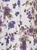 White/Purple Floral Print Linen Tunic