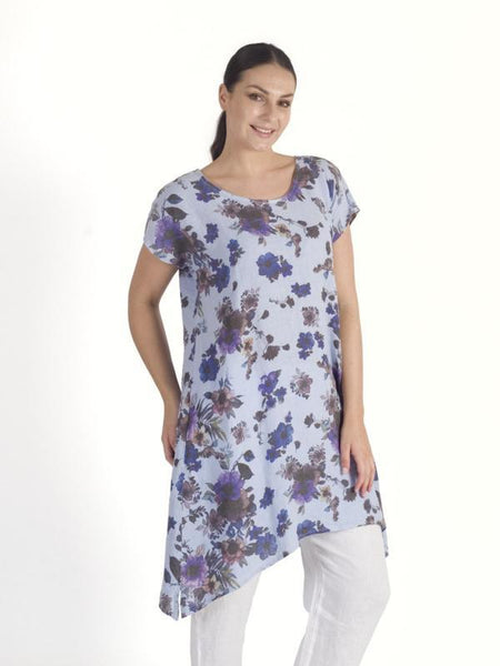 Sky Blue/Purple Floral Print Tunic