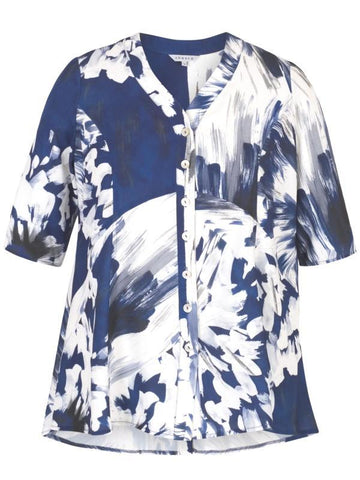 Blue/White Abstract Block Flower Print Stretch Jacket