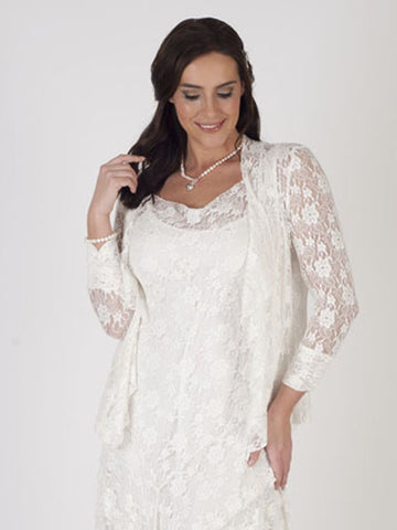 Ivory Stretch Lace Bead Trim Shrug