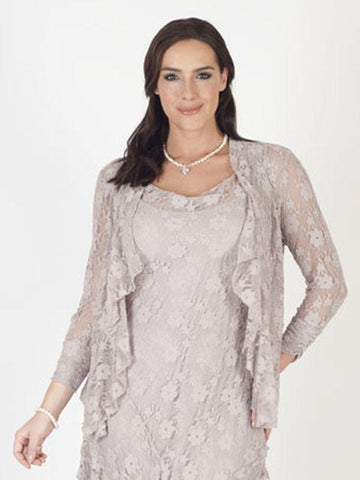 Pale Mink Stretch Lace Bead Trim Shrug