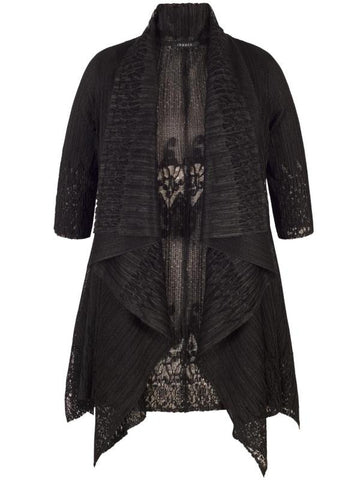 Black Border Lace Crush Pleat Waterfall Shrug