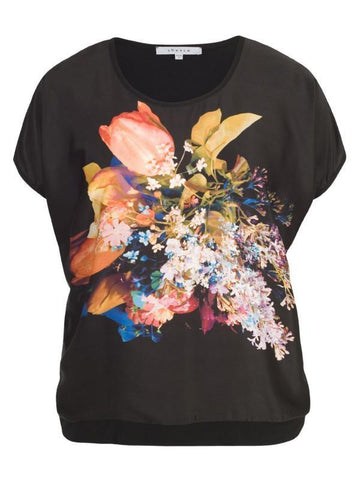 Black/Orange Mini Tulip Print satin top with Jersey Back
