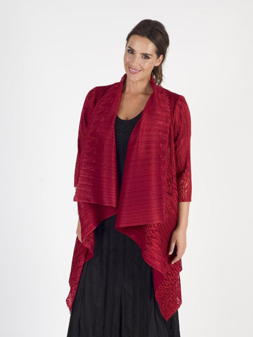 Ruby Bordered Lace Crush Pleat Waterfall Shrug