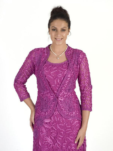 Hot Pink Cornelli Emb. Lace Jacket