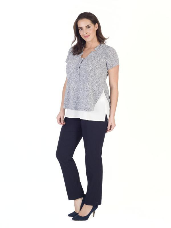 Ivory/Navy Stand Collar Print Layer Crepe Top