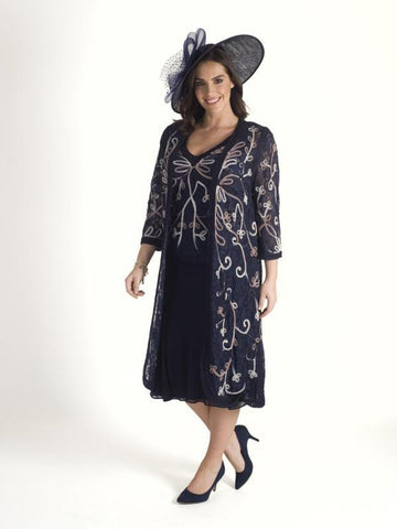 Navy/Mink/Ivory Ombre Cornelli Emb Lace Coat