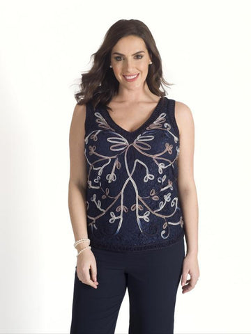 Navy/Mink/Ivory Ombre Cornelli Emb Lace Lined Cami