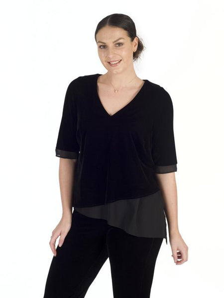 Black Velvet asymmetric Top with chiffon trim