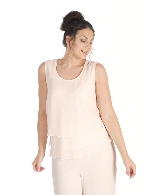 Blush Wrap Back Layered Chiffon Top