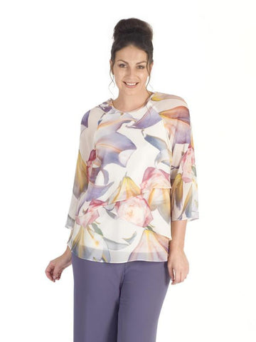Oriental Triple Layered Lily Print Chiffon Top