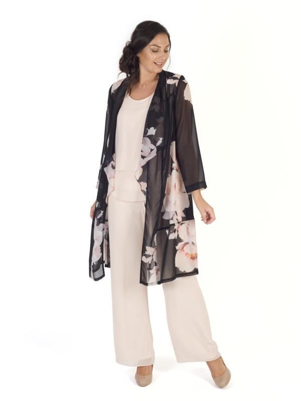 Black/Blush Floral Bloom Placement Print Chiffon Coat