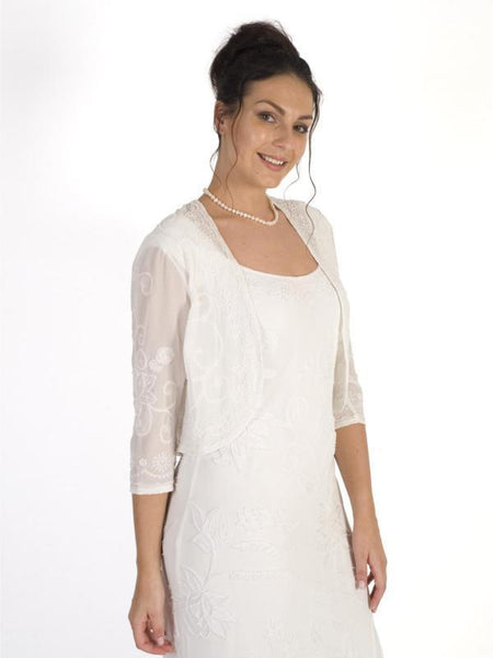 Ivory Embroidered and Beaded Bolero