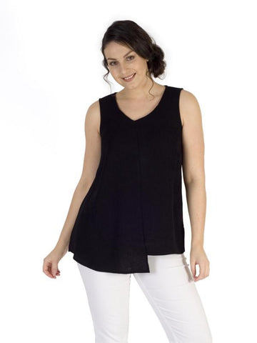 Black Fine Rib  Tunic - assymetric hem detail