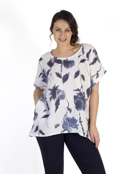 White/Navy Floral Print Linen Tunic