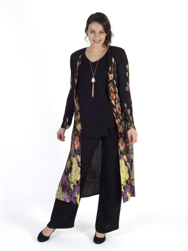 Black Floral Border Crush Pleat Chiffon Coat