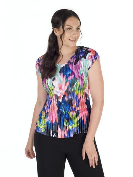 Fuchsia/Black/Blue Bright Multi Print Pleated Top