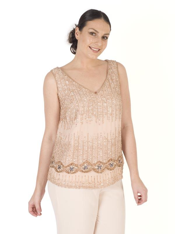 Blush Chiffon V-Neck Matt Sequin & Beaded Double Layered Top