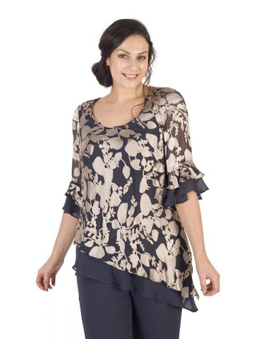 Rose Gold/Pewter Leaf Devoree Layered Top