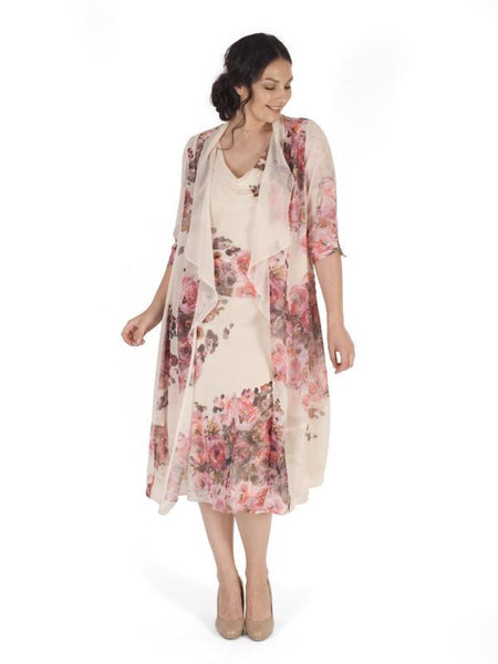 Pale Apricot Bouquet Chiffon Coat