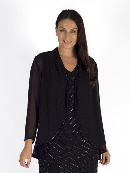 Black/Gunmetal Beaded Trim Shrug