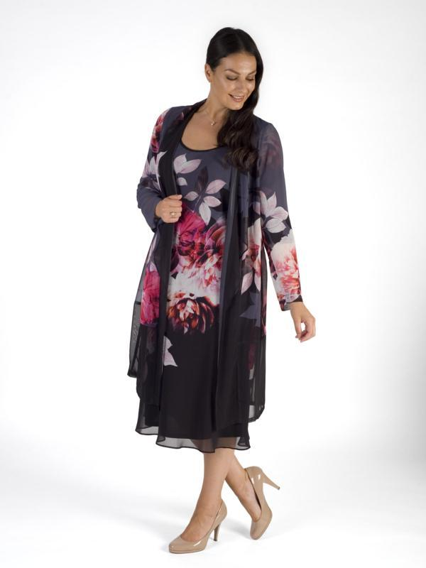 Hyacinth Floral Chiffon Barrel Coat