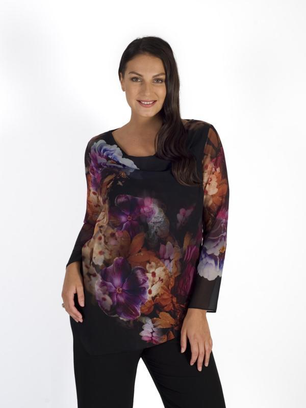 Blk/Pink Multi Floral Placement Print Chiffon Jersey Lined Top