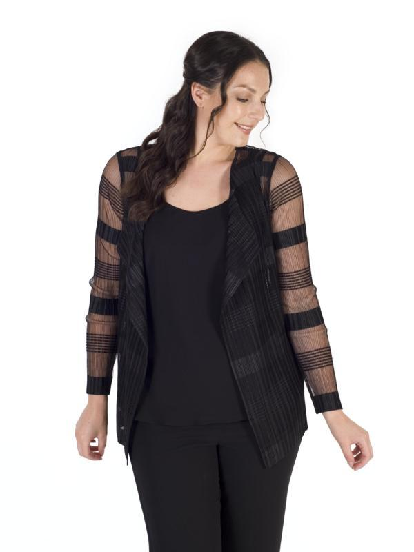 Black Sheer & Stripe Crush Pleat Short Shrug
