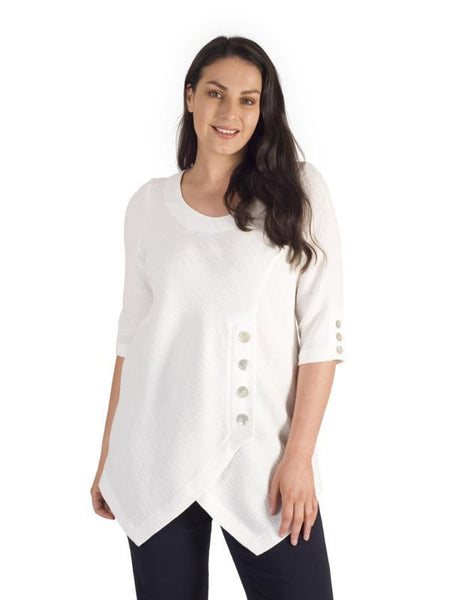 Ivory Crinkle Button Detail Top