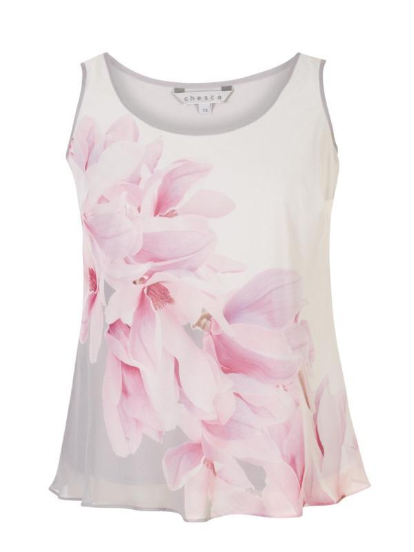 Dove Grey/Rose Pink/Ivory Garland Print Chiffon Camisole