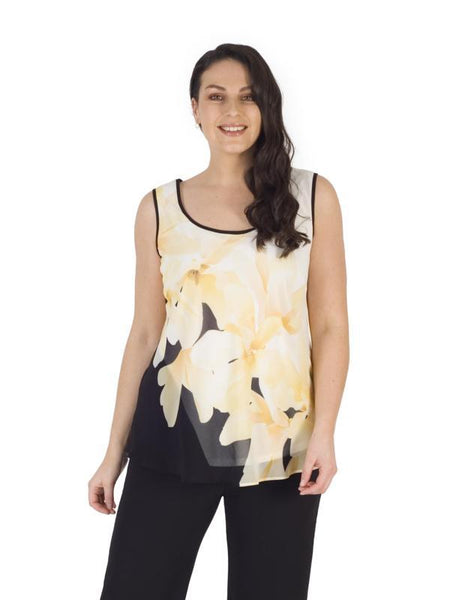 A Blk/Ivory/Yellow Garland Print Chiffon Cami - Pre Order End Of July