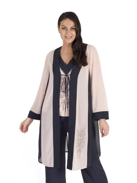 Smoke/Shell Contrast Trim Emb Chiffon Coat