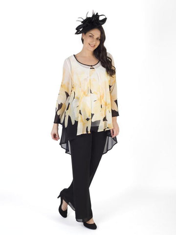A Blk/Yellow/Ivory Garland Print Chiffon Coat - Pre Order End July