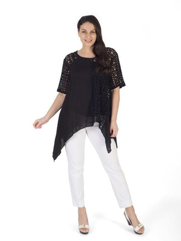 Black Holey Mesh & Linen Top