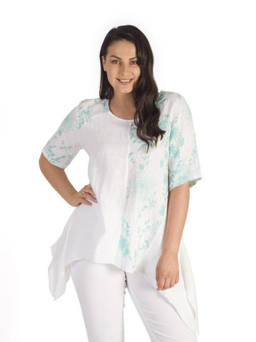 White/Jade Plain & Print Linen Top
