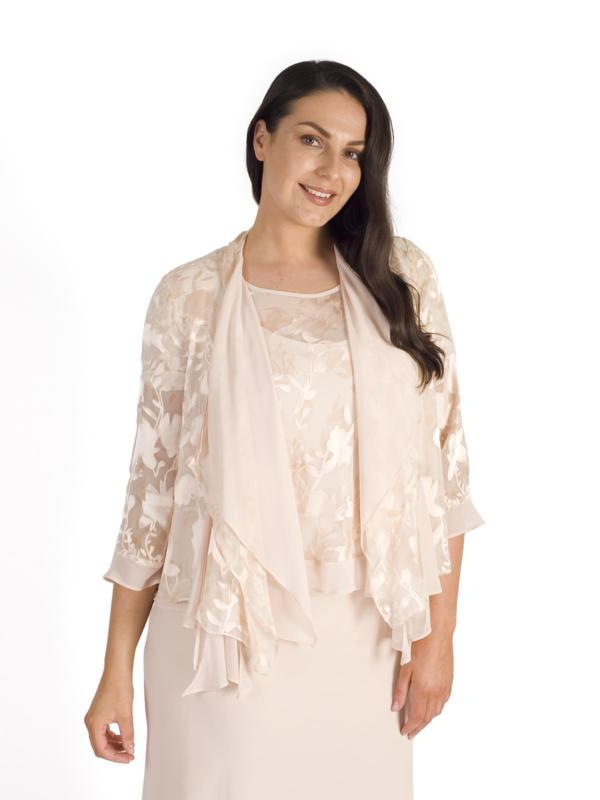 Blush Silk Devoree & Chiffon Layered Shrug