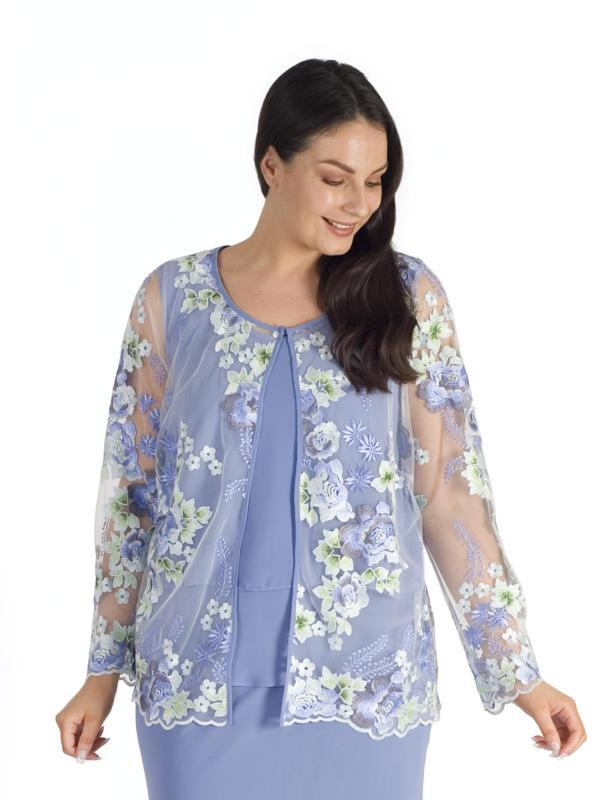Bluebell Floral Emb. Mesh Scallop Trim Jacket