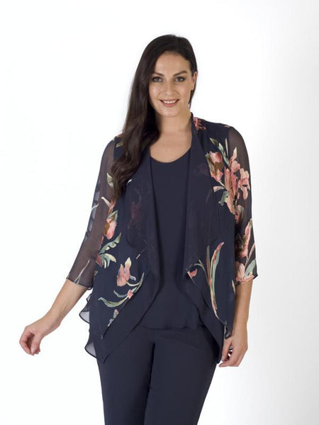Floral Satin Devoree & Chiffon Layered Shrug