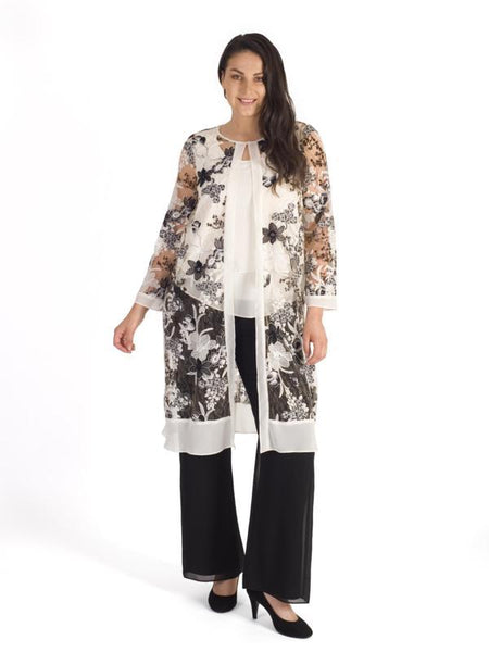 Blonde/Black Emb & Sequin Chiffon Trim Coat
