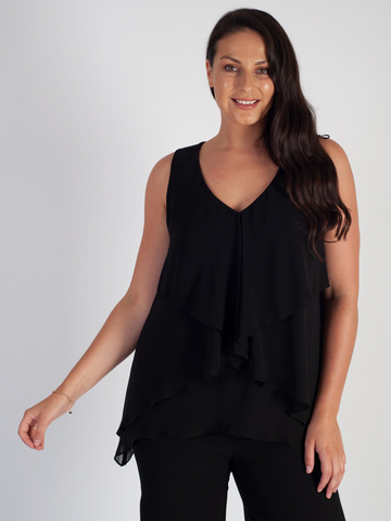 Black Fancy Double Layer Chiffon Top