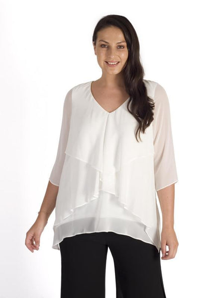 Ivory Fancy Double Layer Chiffon Long Sleeve Top - Pre Order March 5th