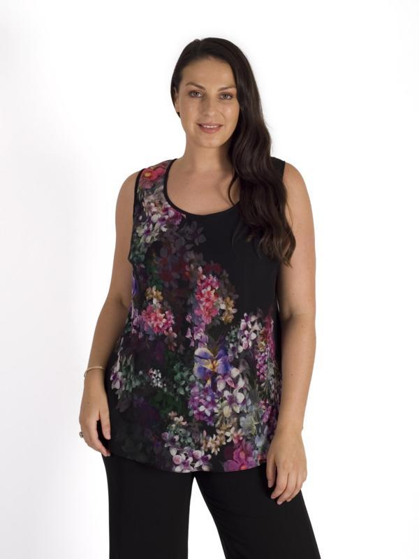 Black/Grape Wisteria Chiffon Camisole