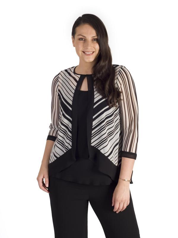 Ivory/Blk Irregular Stripe Chiffon Trim Shrug