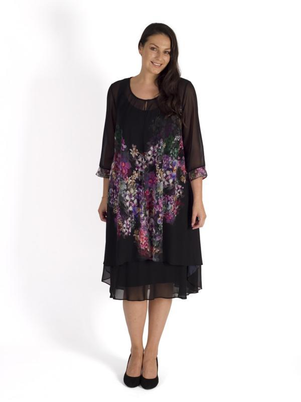 Black/Grape Wisteria Placement Chiffon Coat