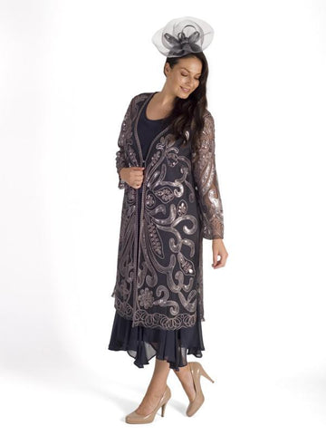 Pewter Cornelli Embroidered Mesh Coat