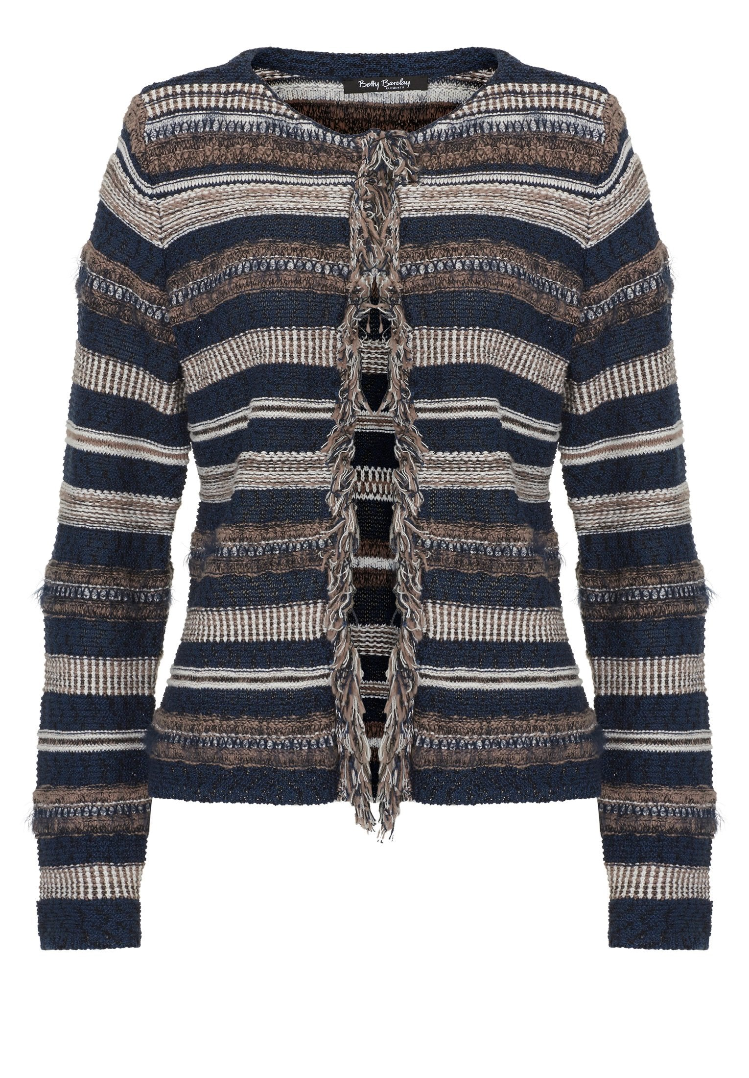 BETTY BARCLAY Multi-textured Stripe Cardigan