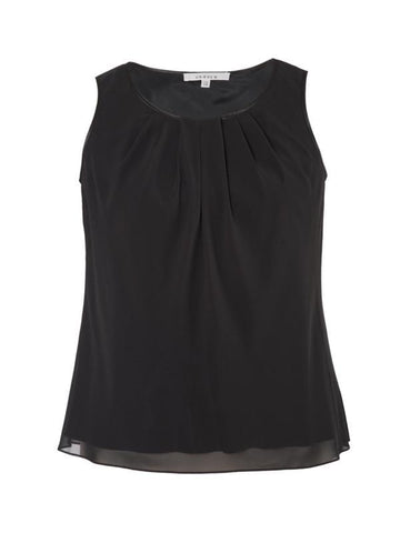 Black Tuck Detail Chiffon Camisole