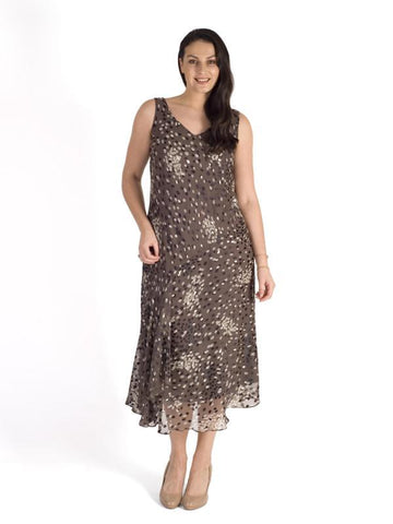 Mocha & Cream Cluster Spot Satin Devoree Dress