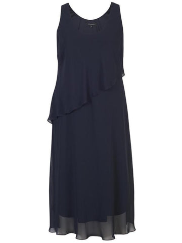 Navy Asymmetric Slit Detail Double Layer Chiffon Dress