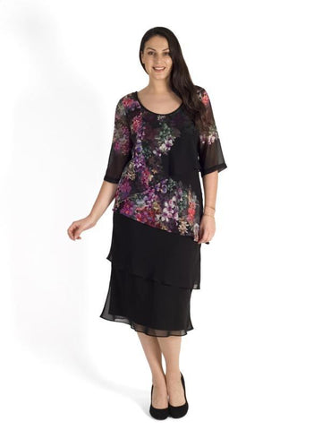Black/Grape Wisteria Placement Multi Layered Chiffon Dress